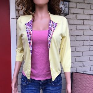 Mellow yellow pink accent cardigan